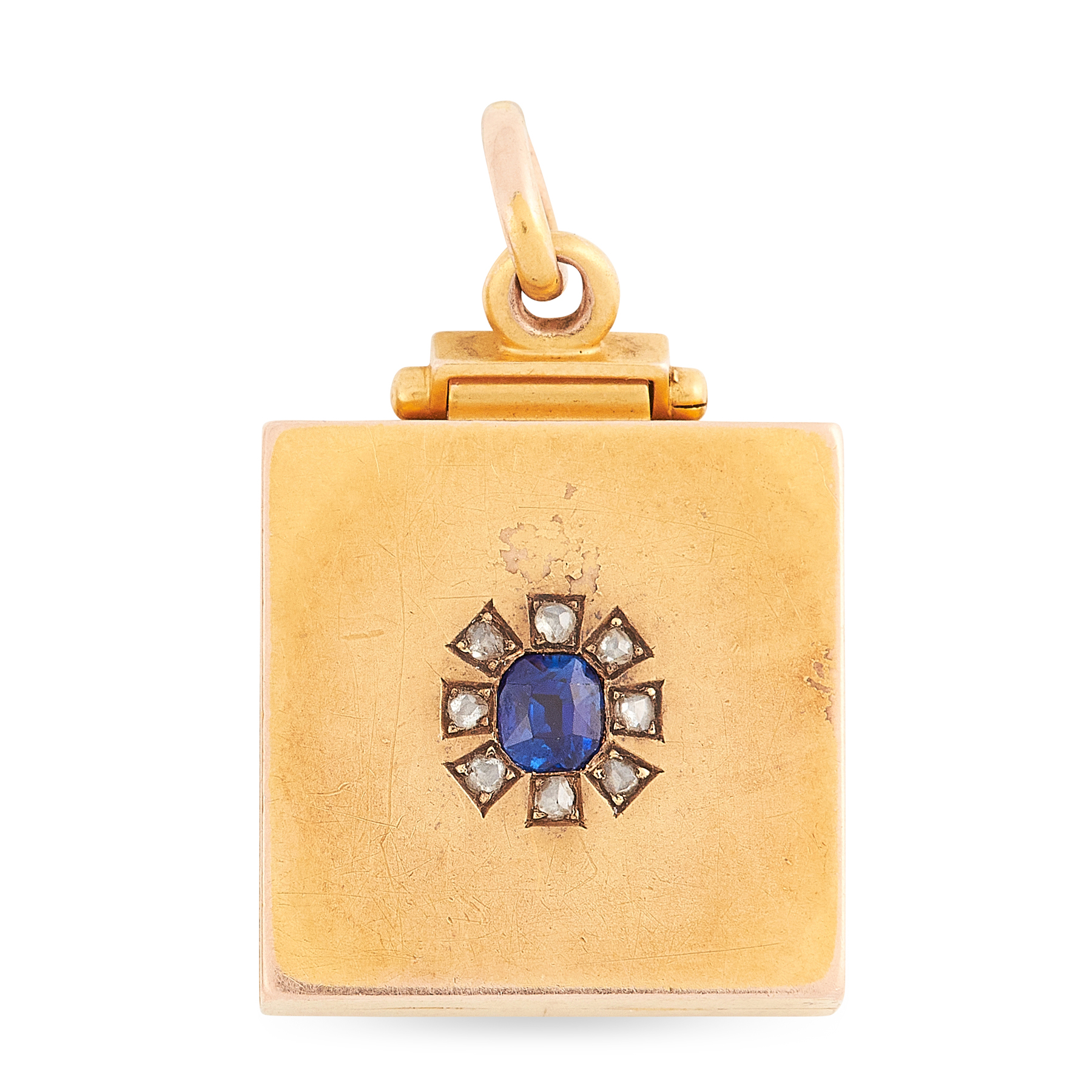AN ANTIQUE SAPPHIRE AND DIAMOND LOCKET PENDANT in yellow gold, the square, hinged body with locket
