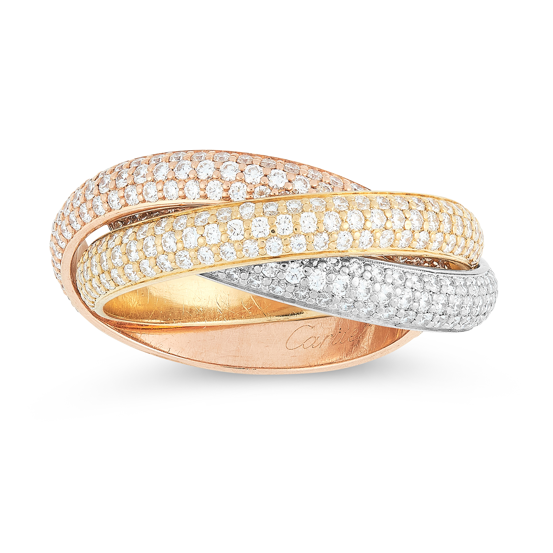 A TRINITY DE CARTIER DIAMOND RING, CARTIER in 18ct yellow, white and rose gold, comprising a trio of