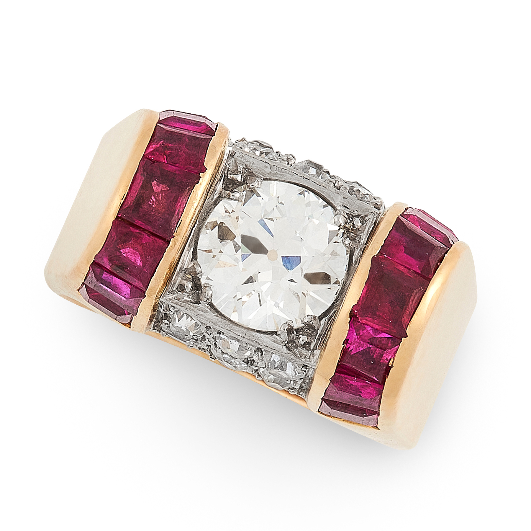 A RETRO DIAMOND AND RUBY RING CIRCA 1945 in 18ct yellow gold, set with an old cut diamond of 1.38