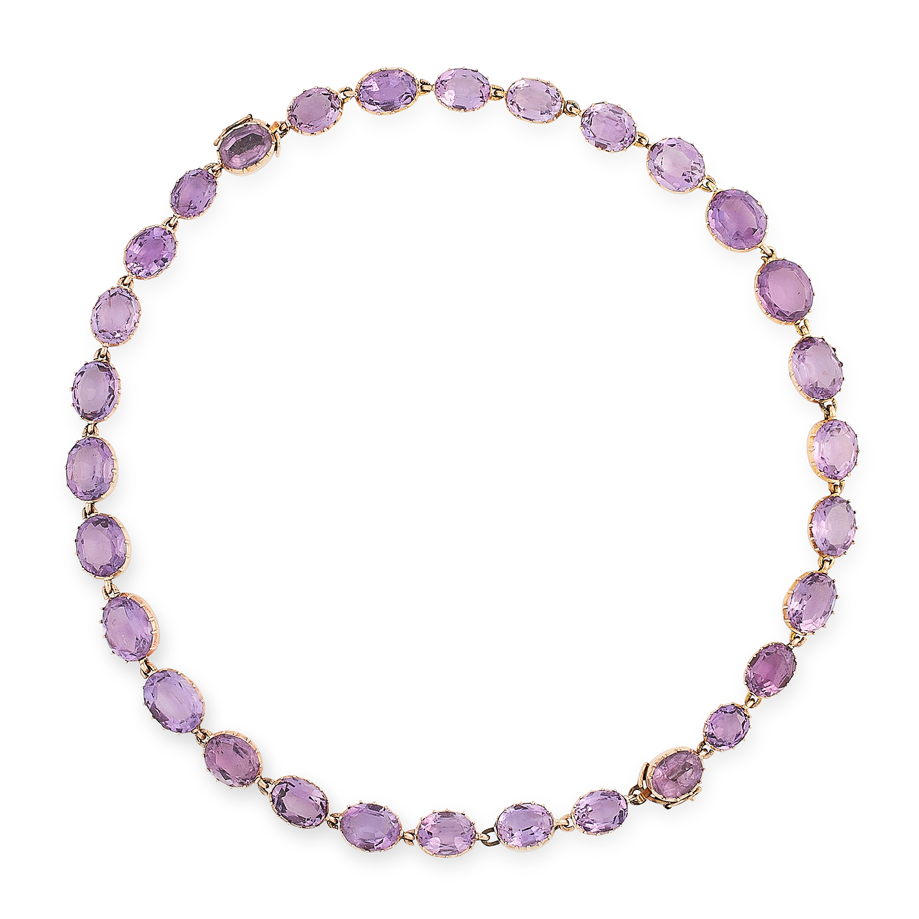 AN ANTIQUE AMETHYST RIVIERE NECKLACE, 19TH CENTURY in yellow gold, comprising a row of thirty oval