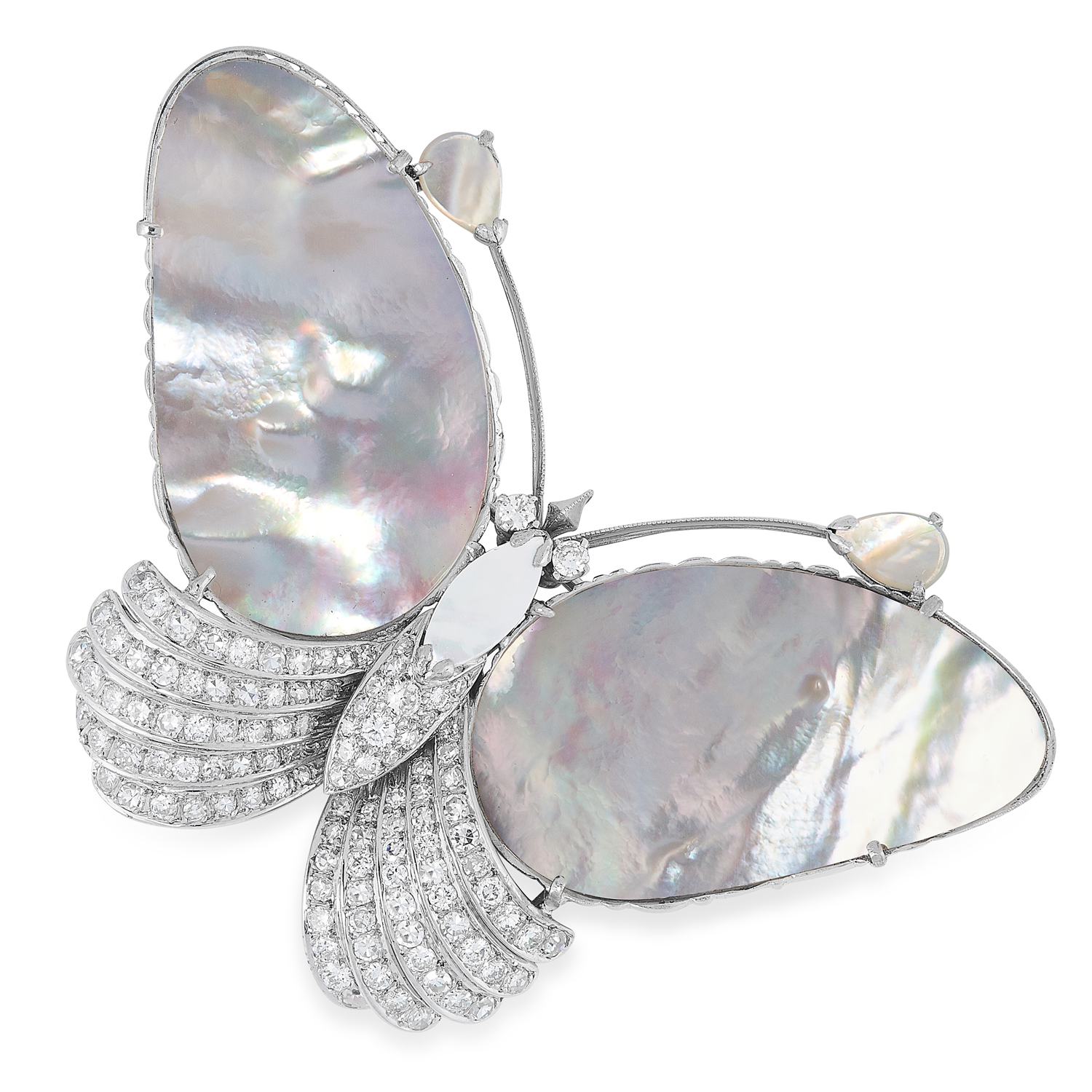 A DIAMOND AND MOTHER OF PEARL BUTTERFLY BROOCH set