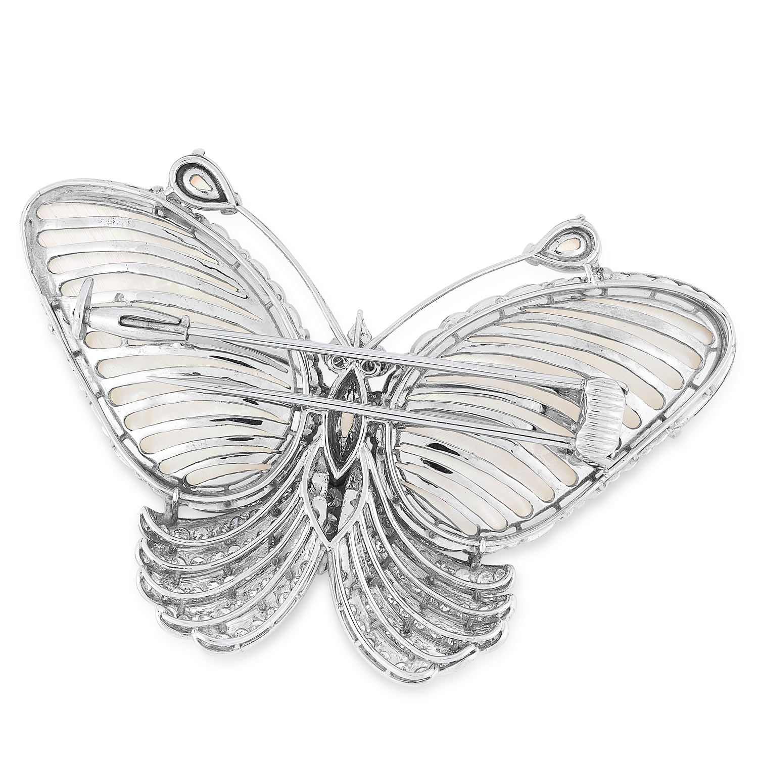 A DIAMOND AND MOTHER OF PEARL BUTTERFLY BROOCH set - Image 2 of 2