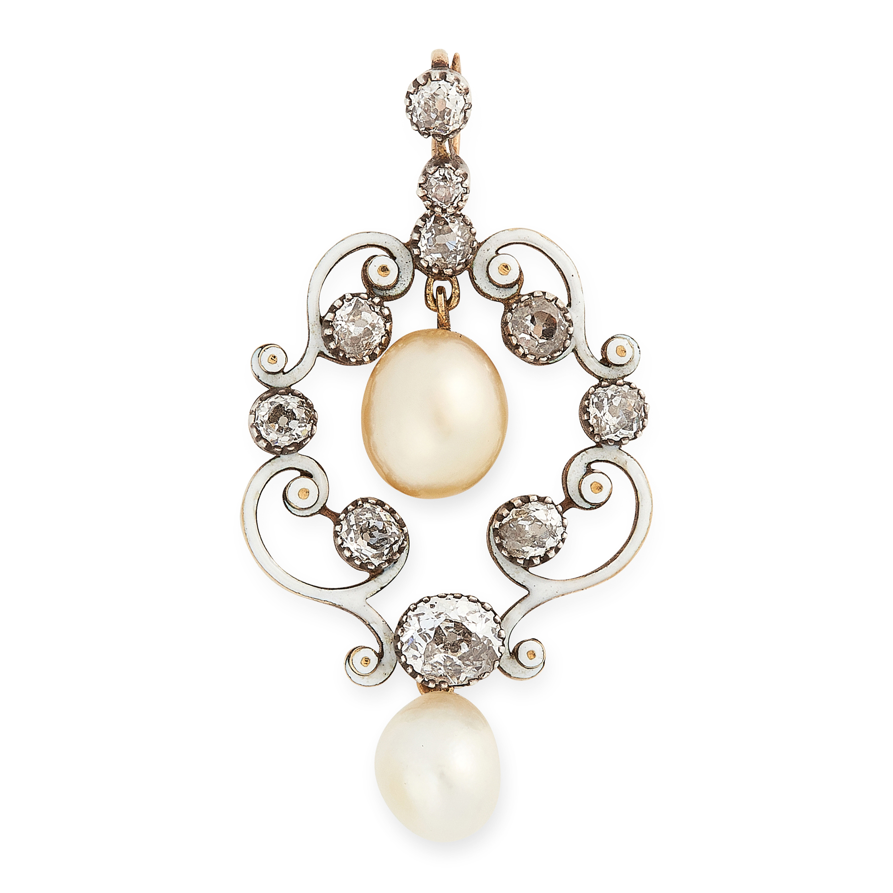 AN ANTIQUE NATURAL PEARL, DIAMOND AND ENAMEL PENDANT in yellow gold and silver, set with two natural