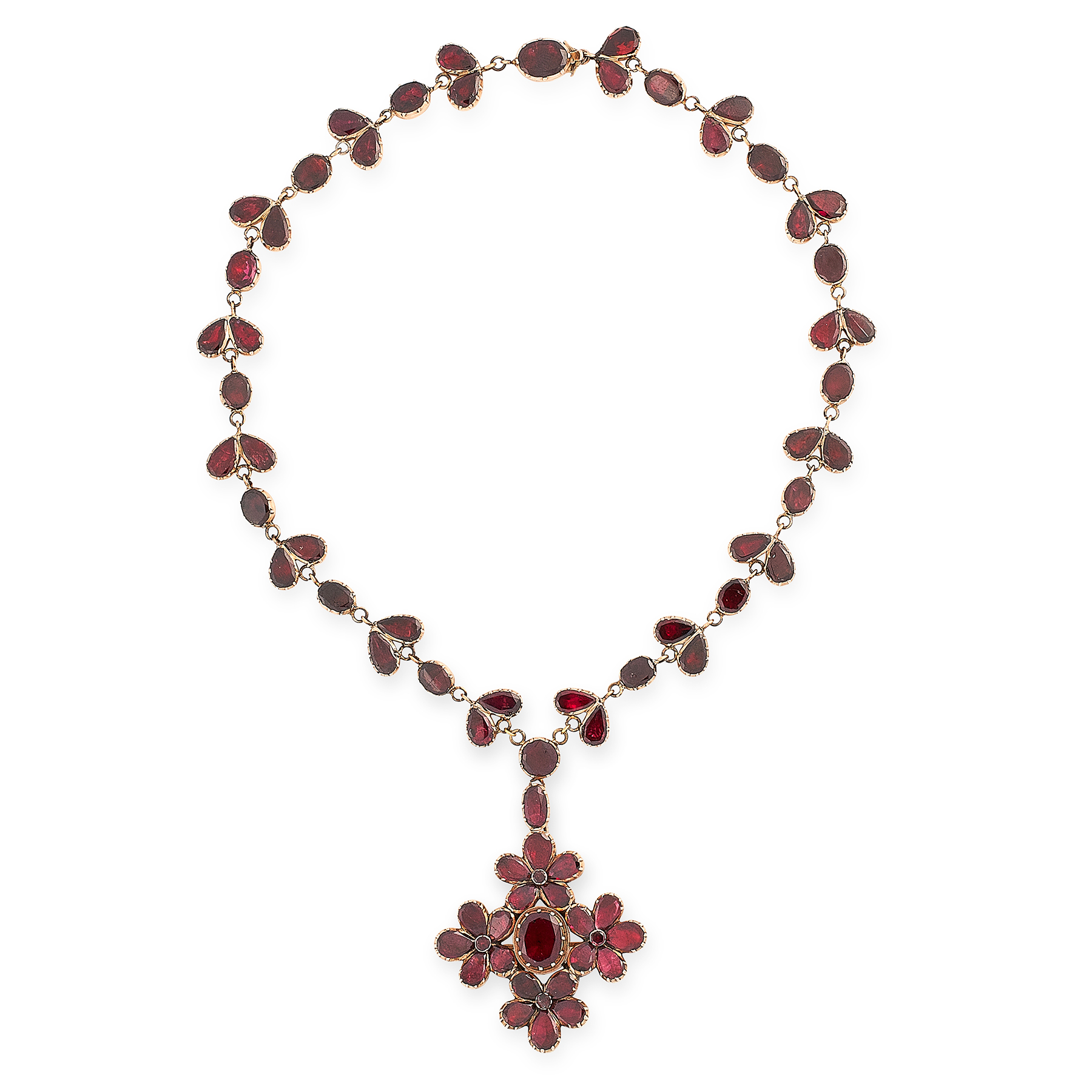 AN ANTIQUE GARNET NECKLACE, 19TH CENTURY in yellow gold, the drop formed of four flower motifs set