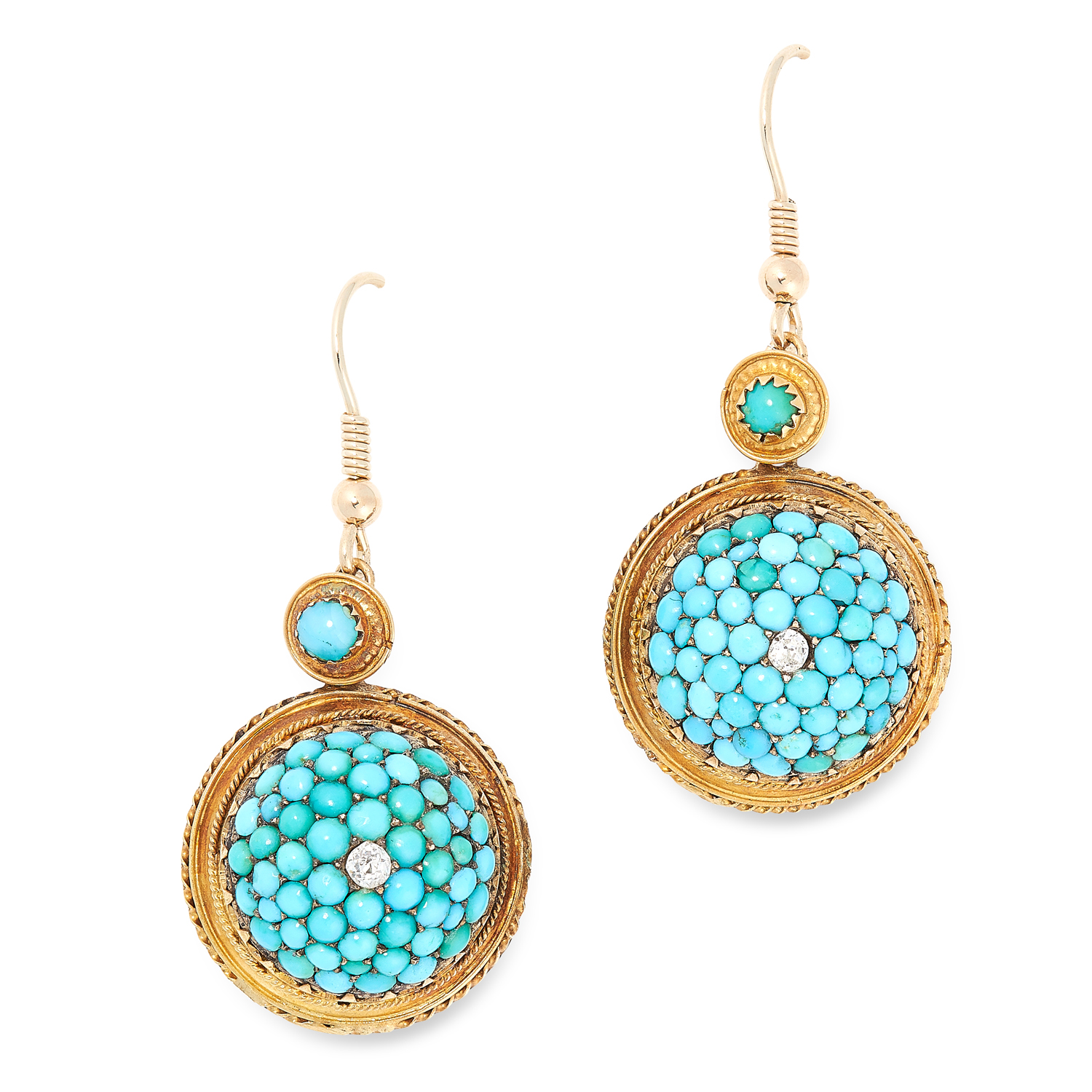 A PAIR OF ANTIQUE TURQUOISE AND DIAMOND EARRINGS in circular form set with cabochon turquoise and an