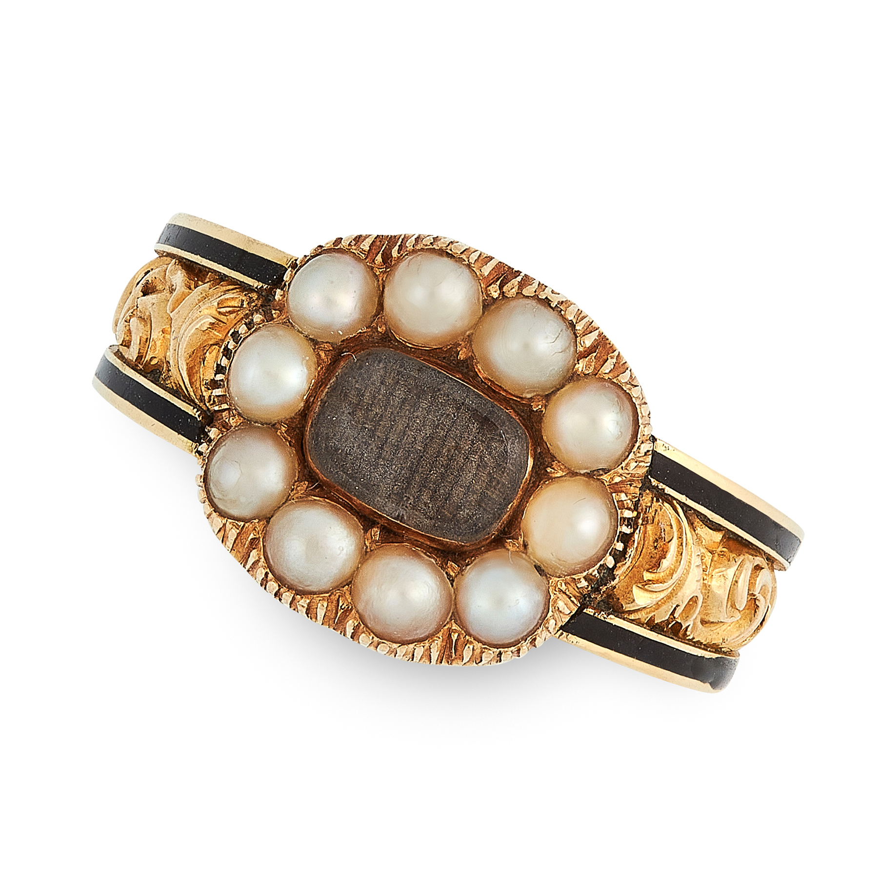 AN ANTIQUE GEORGIAN ENAMEL, HAIRWORK AND PEARL MOURNING RING, 1830 in 18ct yellow gold, the face set