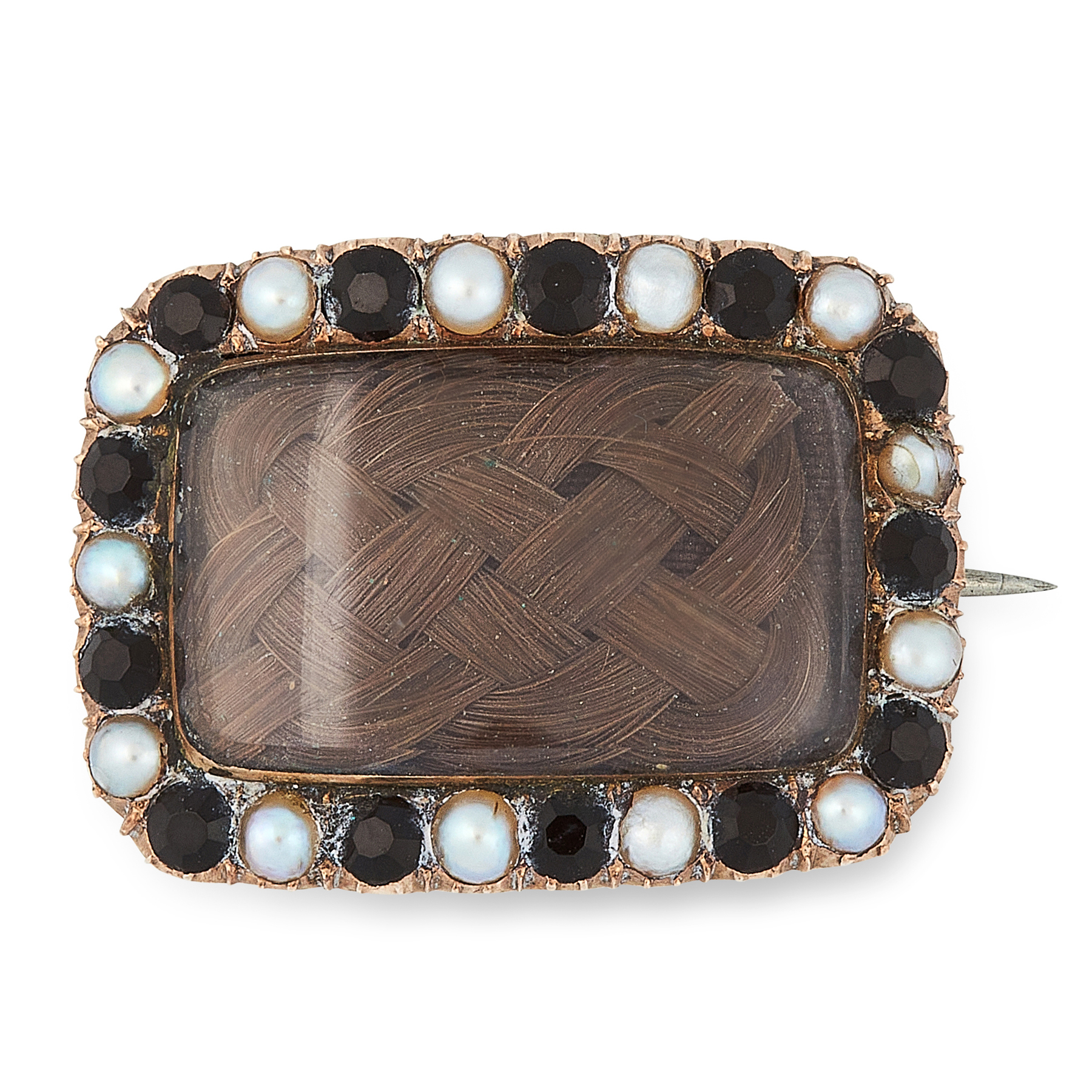 AN ANTIQUE PEARL, JET AND HAIRWORK MOURNING BROOCH, 19TH CENTURY in yellow gold, set with a
