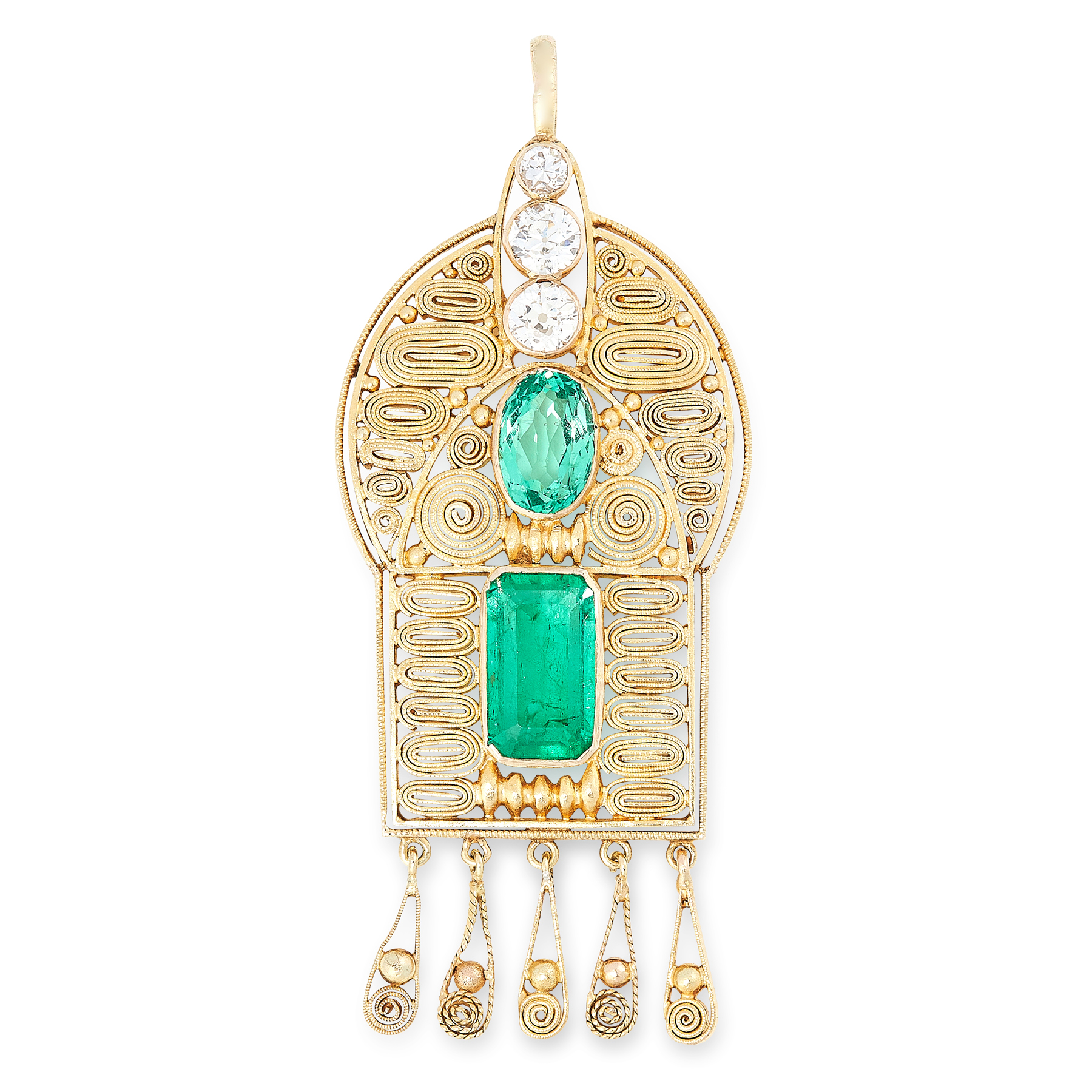 AN EMERALD AND DIAMOND PENDANT in high carat yellow gold, set with emerald cut and oval cut emeralds