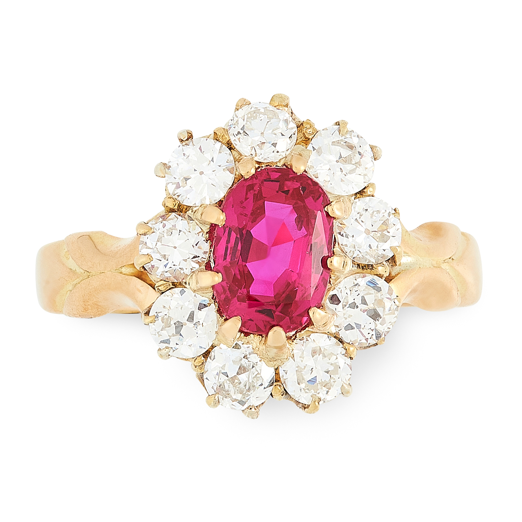 A BURMA NO HEAT RUBY AND DIAMOND RING in 18ct yellow gold, set with an oval cut ruby of 1.38