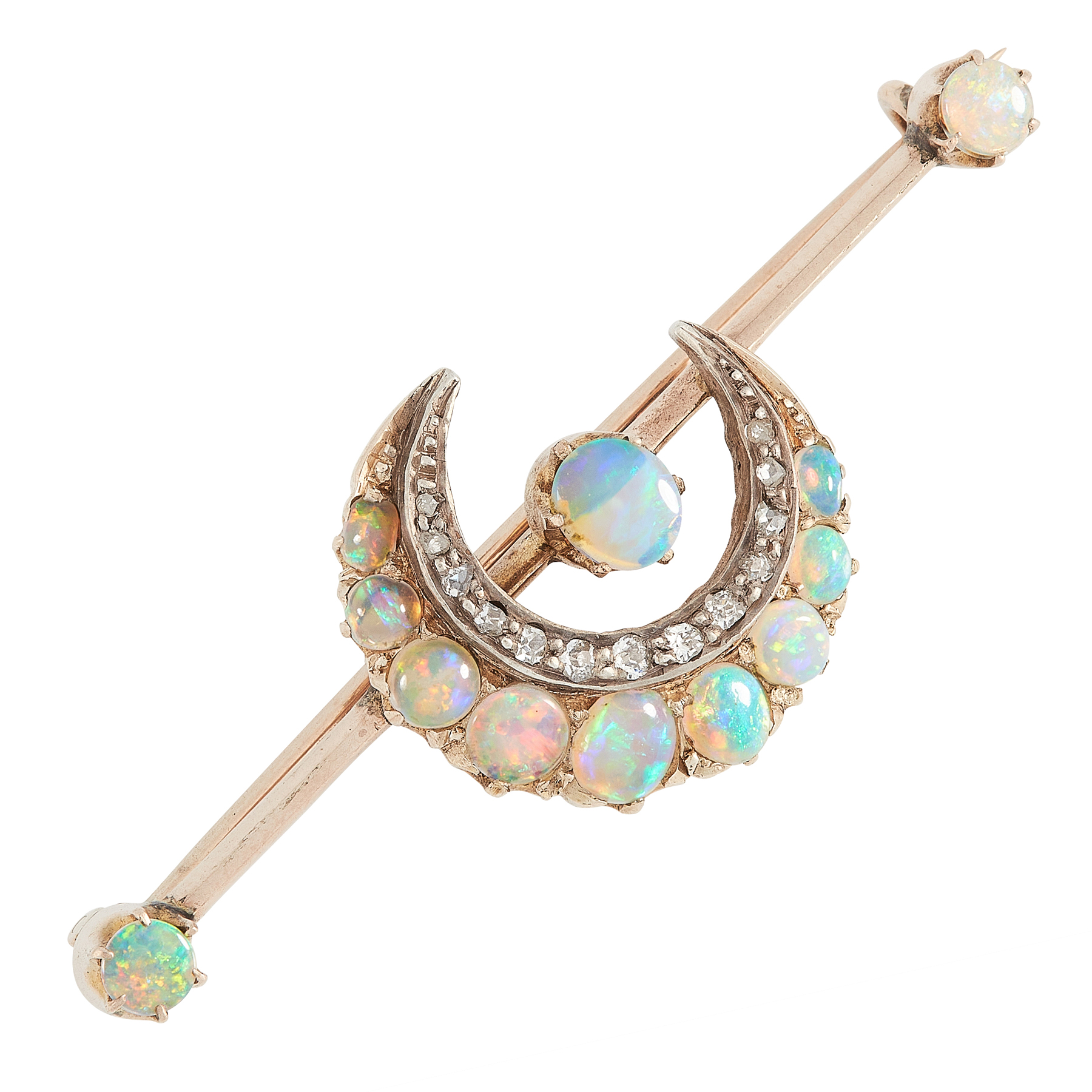 AN ANTIQUE OPAL AND DIAMOND BROOCH, 19TH CENTURY in high carat yellow gold, designed as a crescent