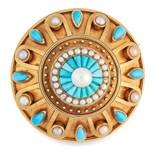 AN ANTIQUE TURQUOISE AND PEARL MOURNING LOCKET BROOCH, 19TH CENTURY in high carat yellow gold, in