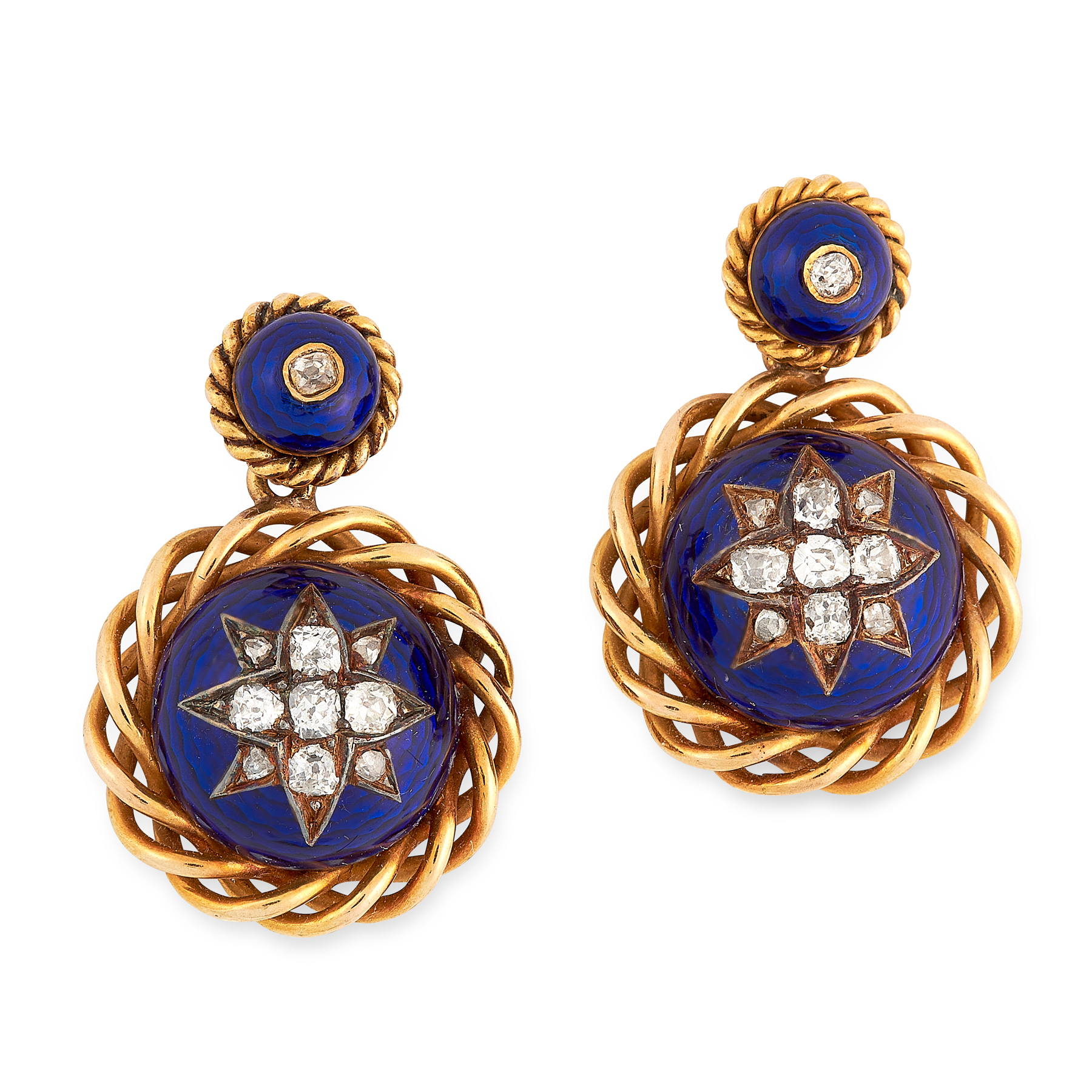 A PAIR OF ANTIQUE DIAMOND AND ENAMEL DROP EARRINGS, 19TH CENTURY in yellow gold, each formed of
