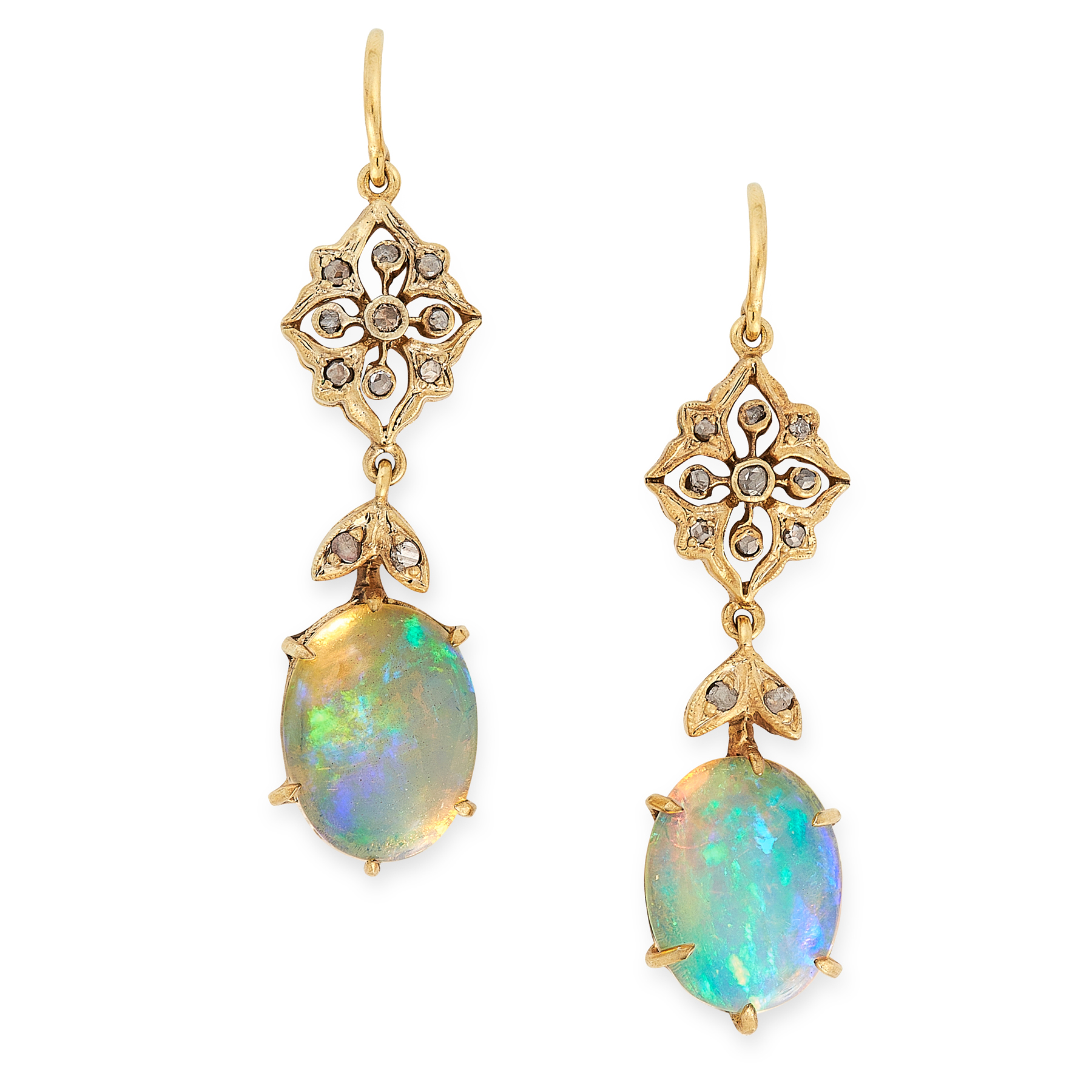 A PAIR OF OPAL AND DIAMOND DROP EARRINGS each set with an oval cabochon opal suspended below foliate