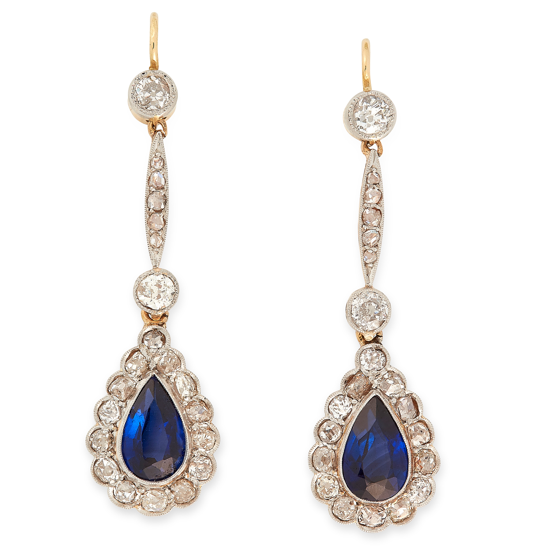 A PAIR OF ANTIQUE SAPPHIRE AND DIAMOND EARRINGS, EARLY 20TH CENTURY in yellow gold and platinum,