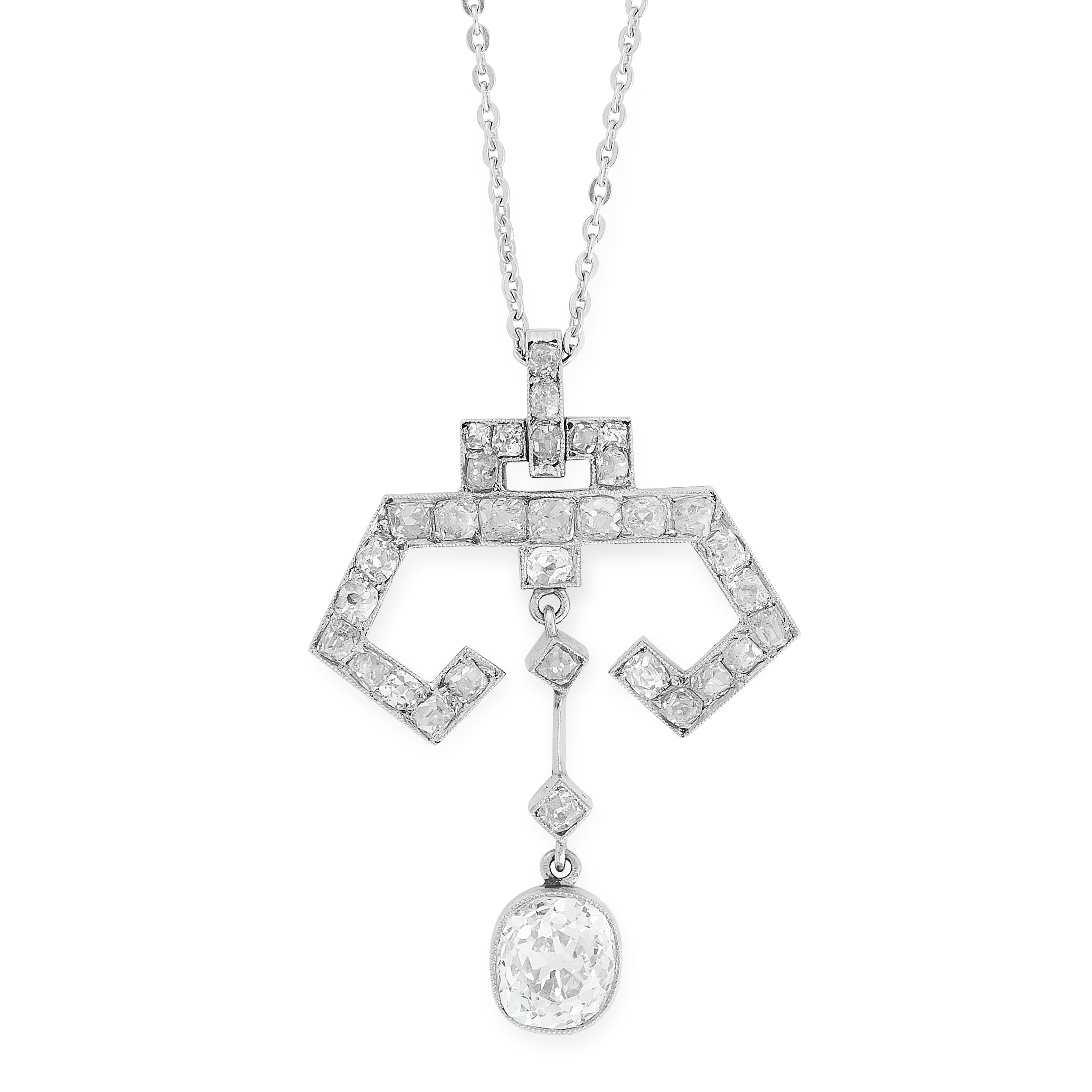 AN ART DECO DIAMOND PENDANT AND CHAIN, EARLY 20TH CENTURY in 18ct white gold, set with an old cut