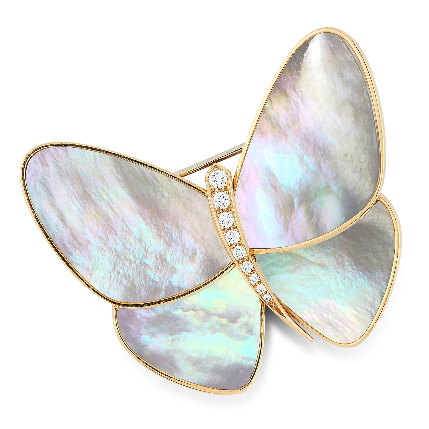A MOTHER OF PEARL AND DIAMOND BUTTERFLY BROOCH, VAN CLEEF & ARPELS in 18ct yellow gold, designed