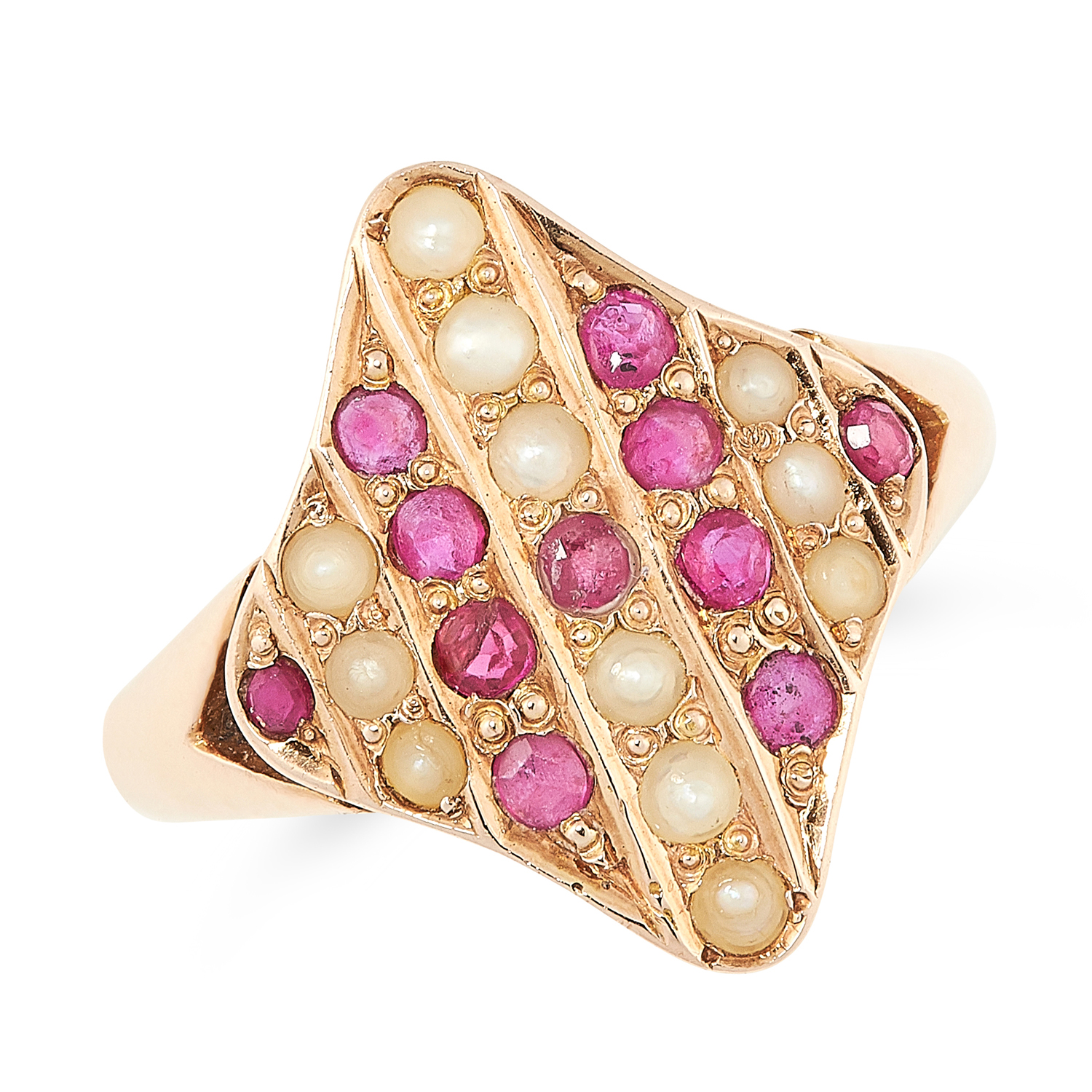 A RUBY AND PEARL DRESS RING the navette face is set with round cut rubies and pearls, tests as