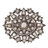 AN ANTIQUE VICTORIAN DIAMOND BROOCH, 19TH CENTURY in yellow gold and silver, of oval form set with a
