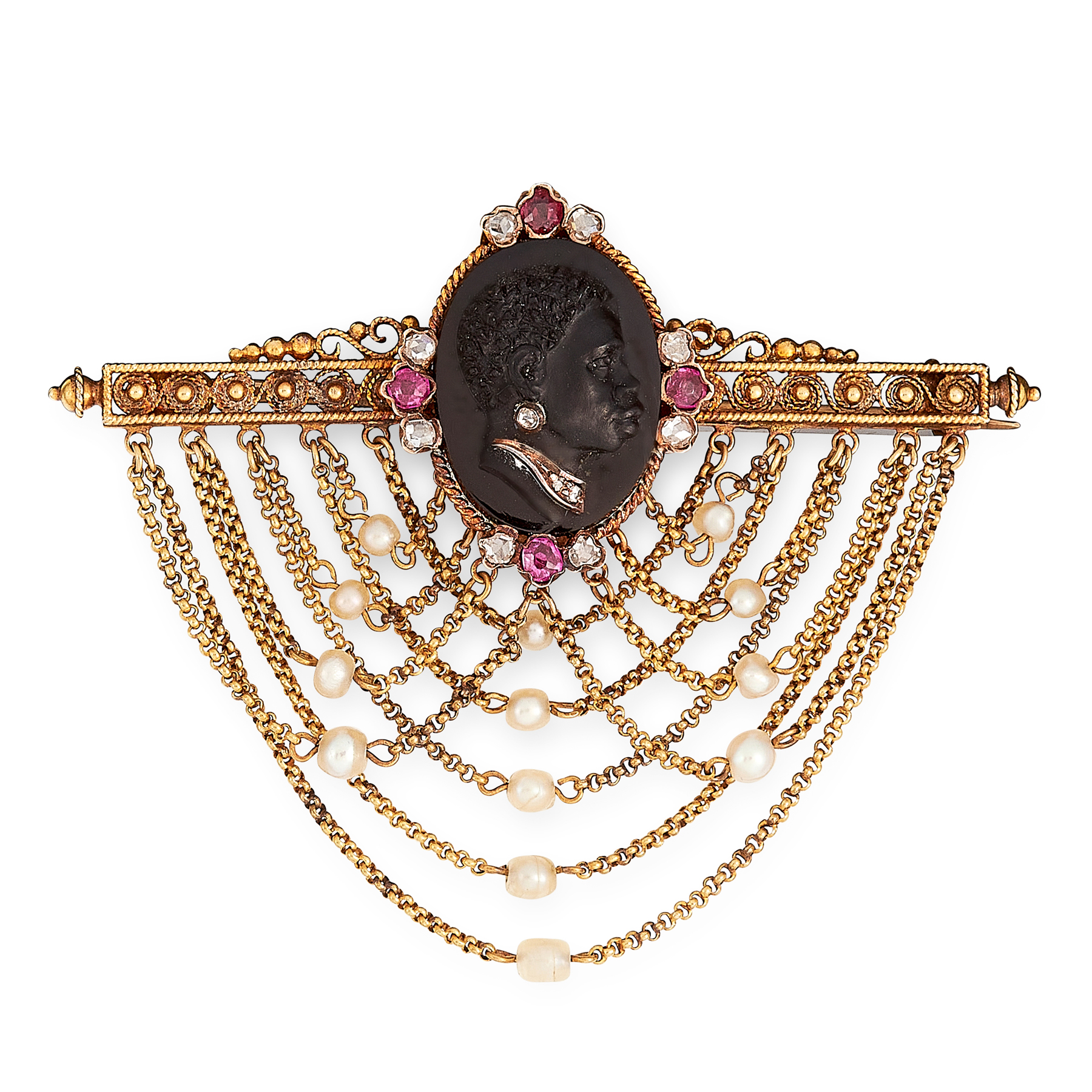 AN ANTIQUE RUBY, DIAMOND AND PEARL BLACKAMOOR CAMEO BROOCH in yellow gold, set with an oval carved