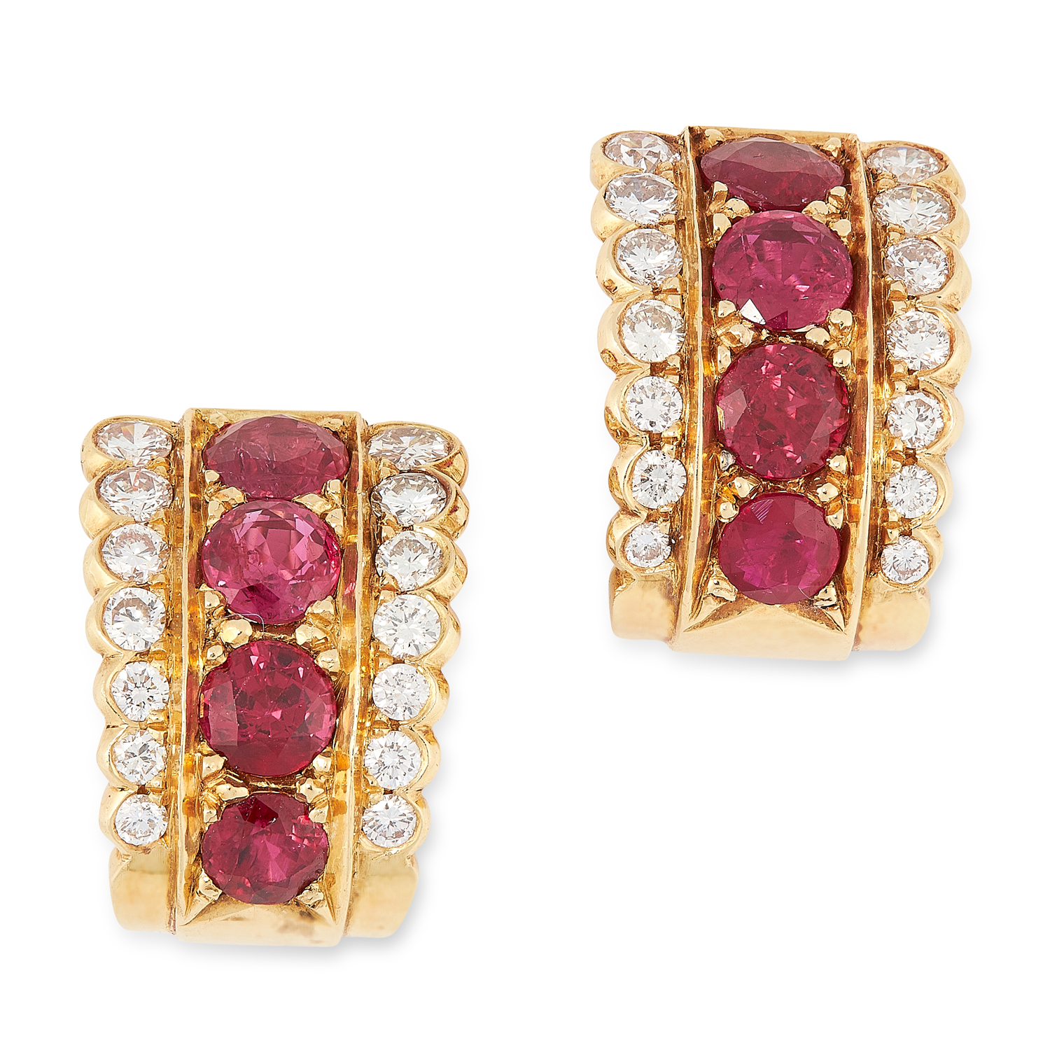 A PAIR OF RUBY AND DIAMOND HOOP EARRINGS each comprising of a row of round cut rubies totalling 3.