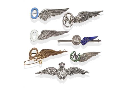An RAF Pilots Wings Sweetheart Brooch, in silver and