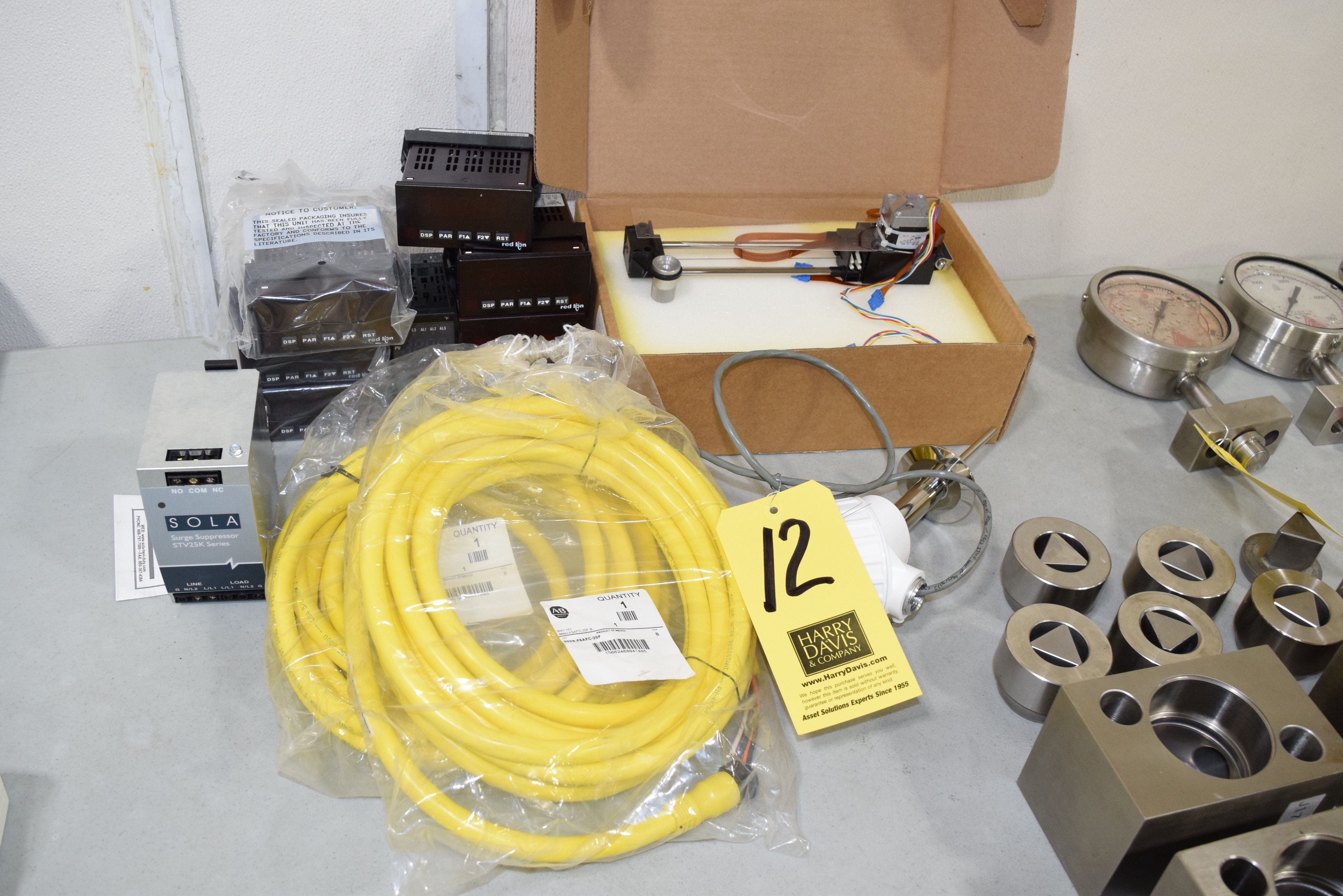 Lot 12 - Sola Power Supply, Allen Bradley Cables, Level Probe, Digital Read Outs and Anderson Recorder **