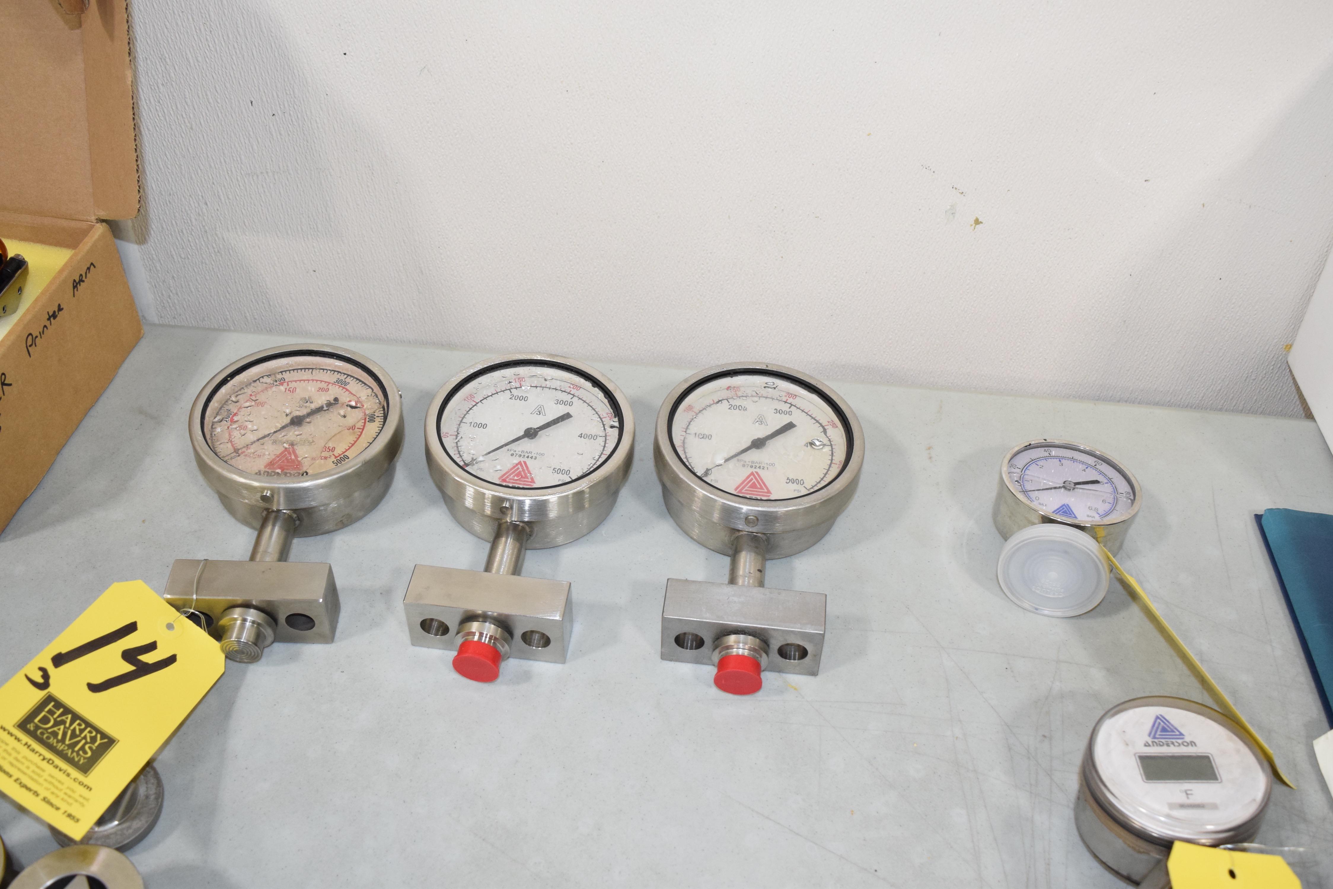 Lot 14 - (3) Anderson Homogenizer Pressure Gauges**Rigging Fee $25