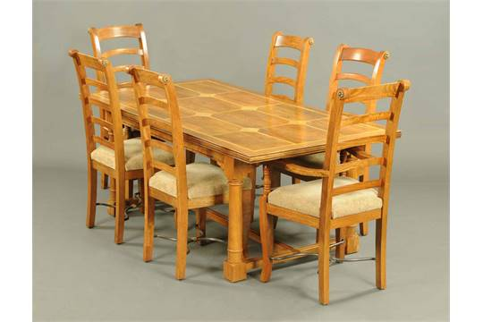 A Barker Stonehouse Flagstone Range Dining Table And Six Chairs The With Parquetry Top