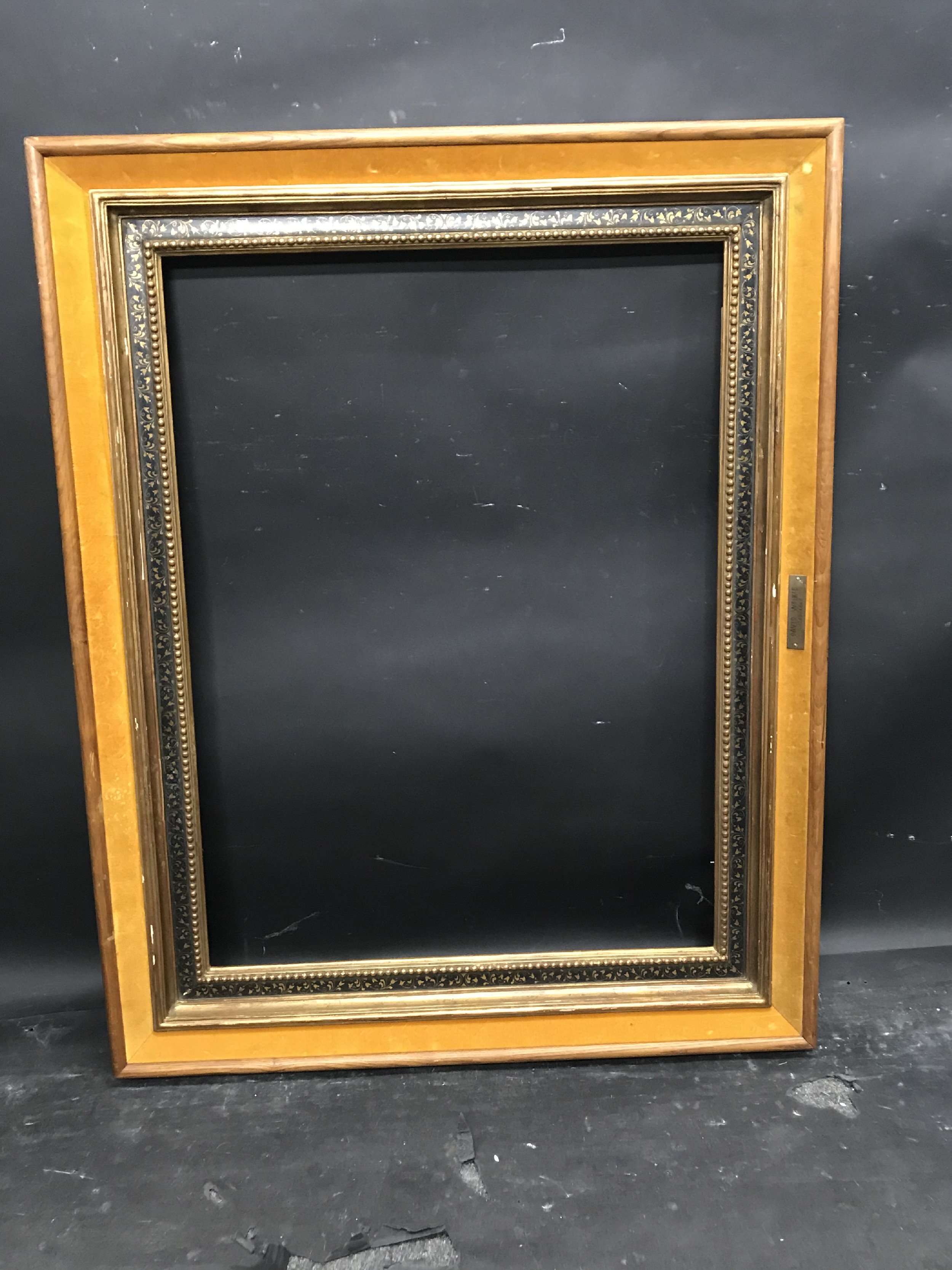 """Lot 57 - 20th Century English School. A Gilt and Black Frame, with a Fabric outer edge, 28"""" x 21"""" (rebate)."""