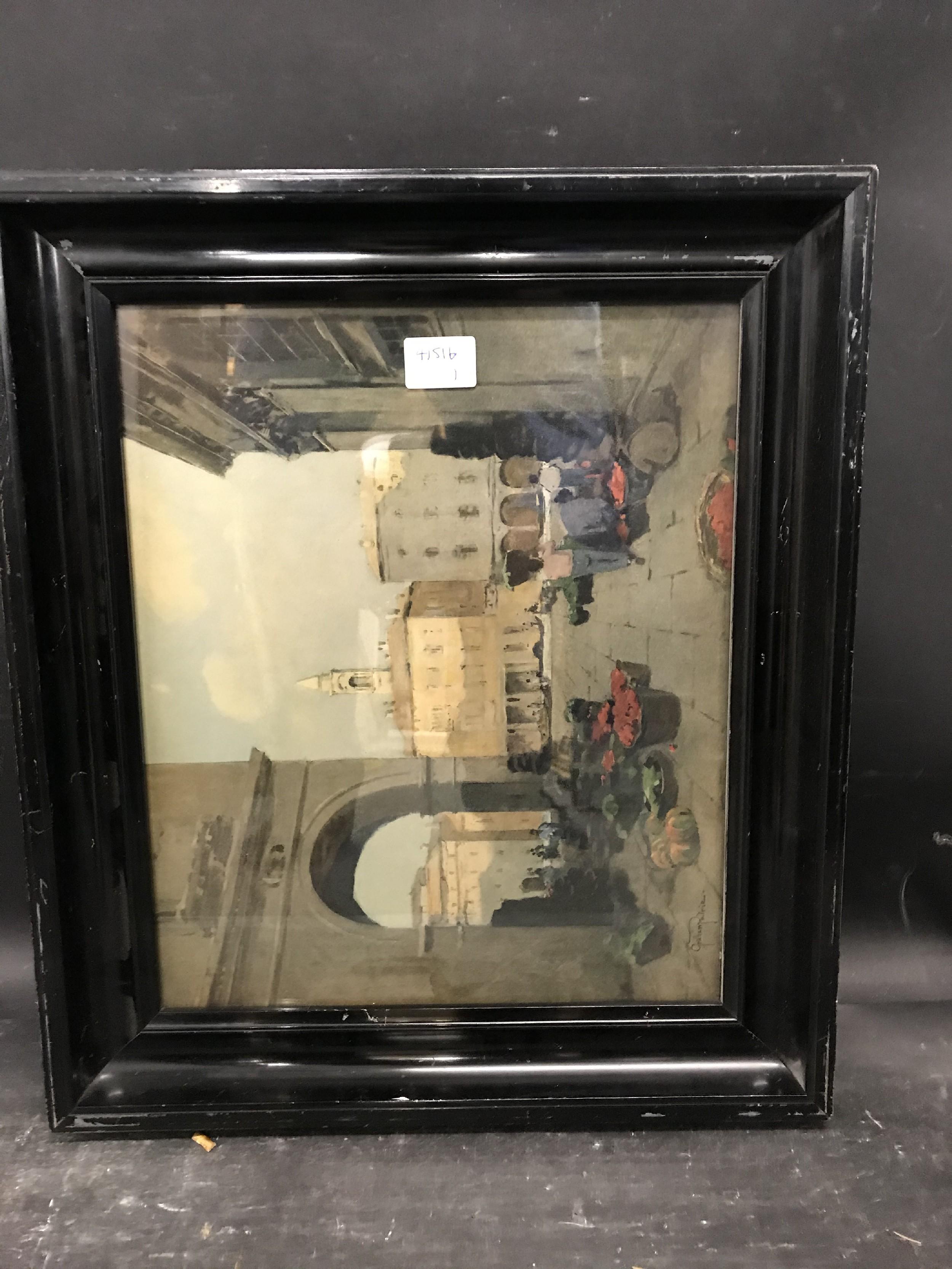 "Lot 58 - 20th Century English School. A Dutch Style Black Frame, with inset print, 13.75"" x 11.25"" (rebate)."