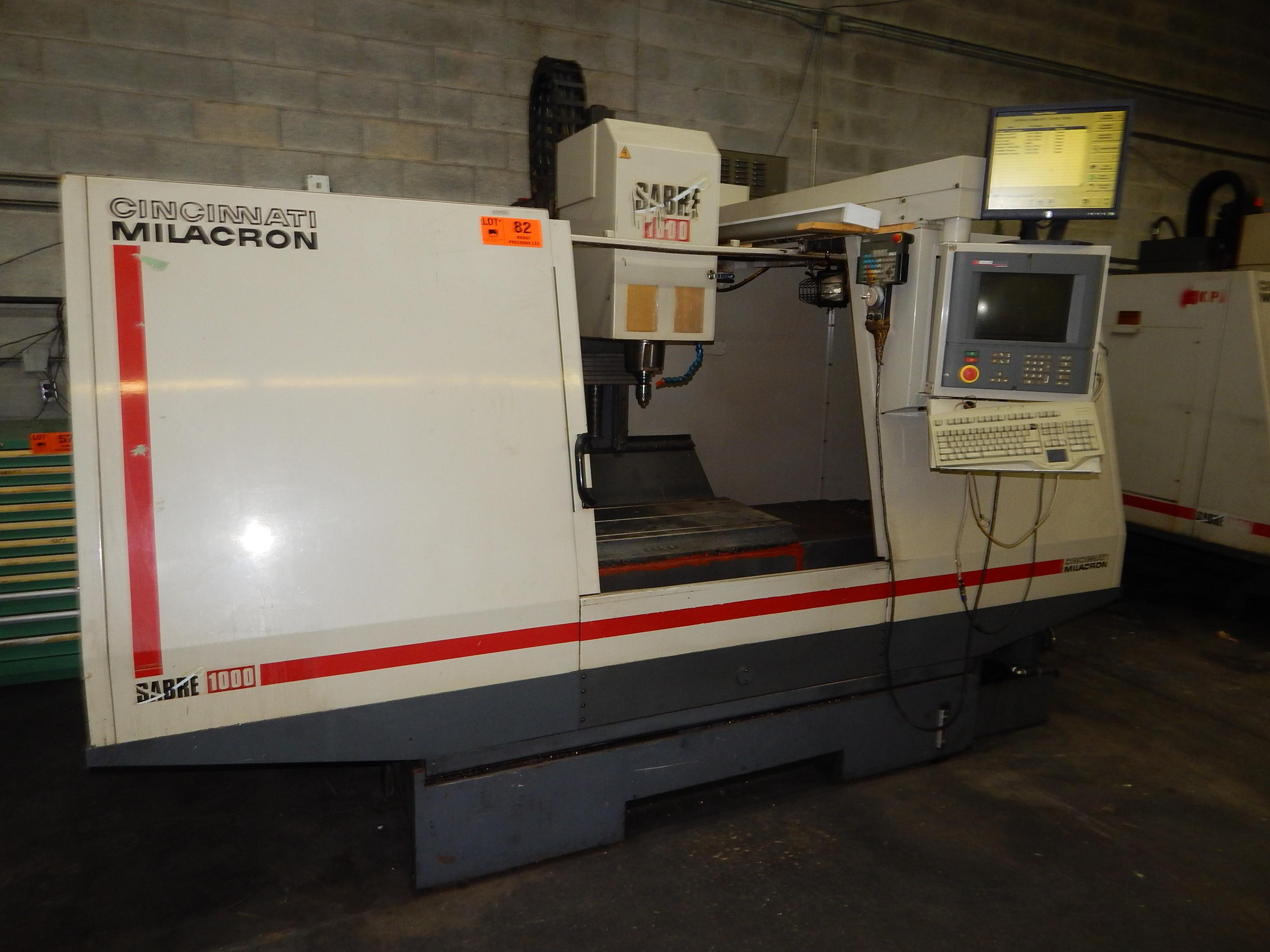 Lot 82 - CINCINNATI MILACRON SABRE 1000 ERH CNC VERTICAL MACHINING CENTER  WITH ACRAMATIC 2100 CNC
