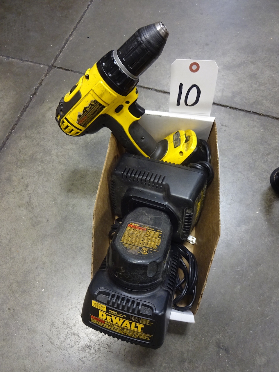Lot 10 - Dewalt Cordless Drill, with (2) Batteries & (2) Chargers