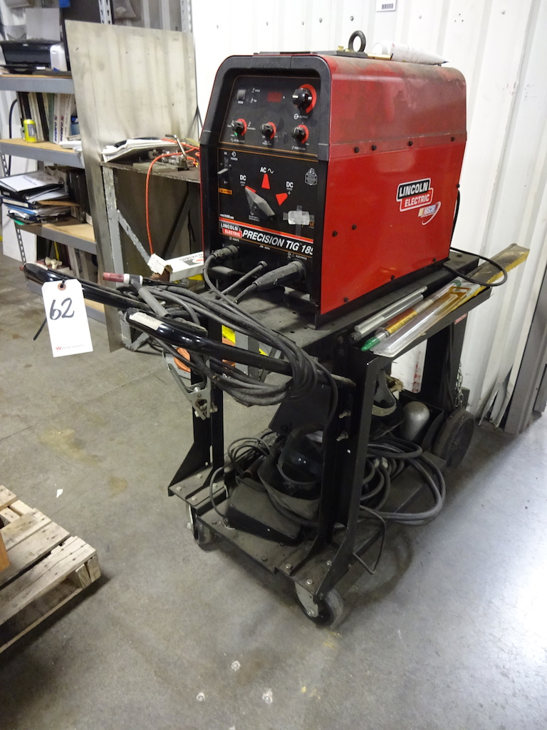 Lot 62 - LOT: Lincoln Electric Precision TIG 185 TIG Welder, S/N U1040418770 (2004), with Cart, Helmets,