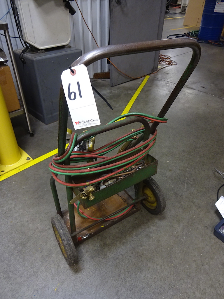 Lot 61 - LOT: Welding Cart with Torch, Hose & Gauges