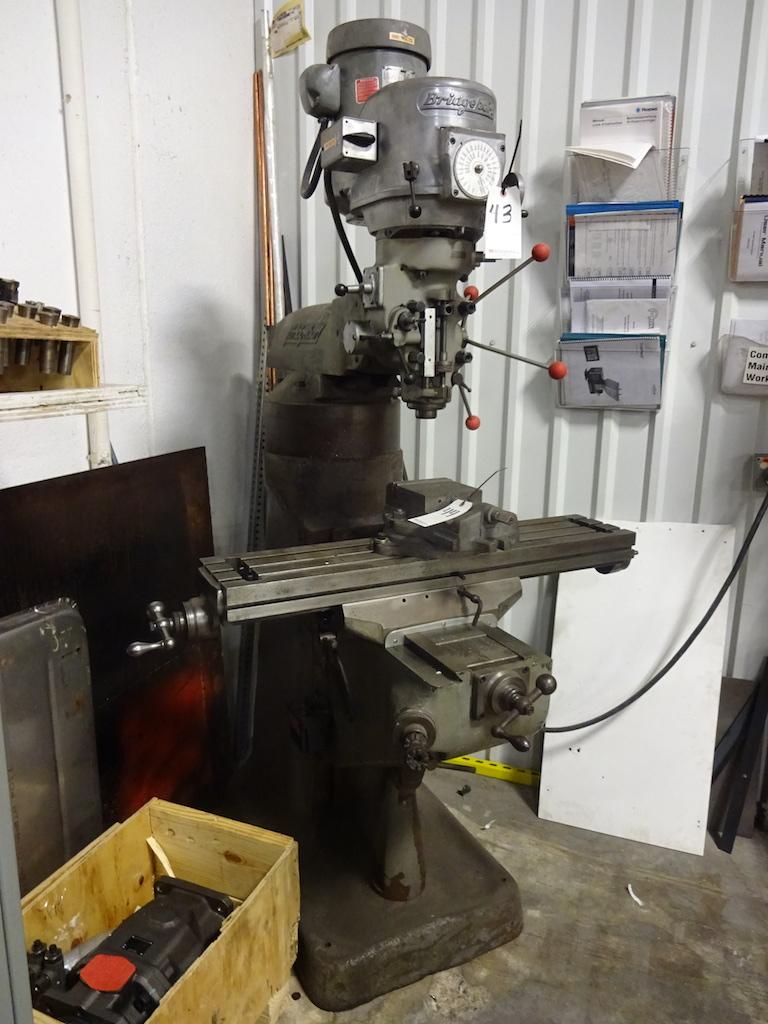Lot 43 - Bridgeport 1-1/2 HP Variable Speed V-Ram Vertical Milling Machine, S/N 12/BR168282, 9 in. x 42 in.