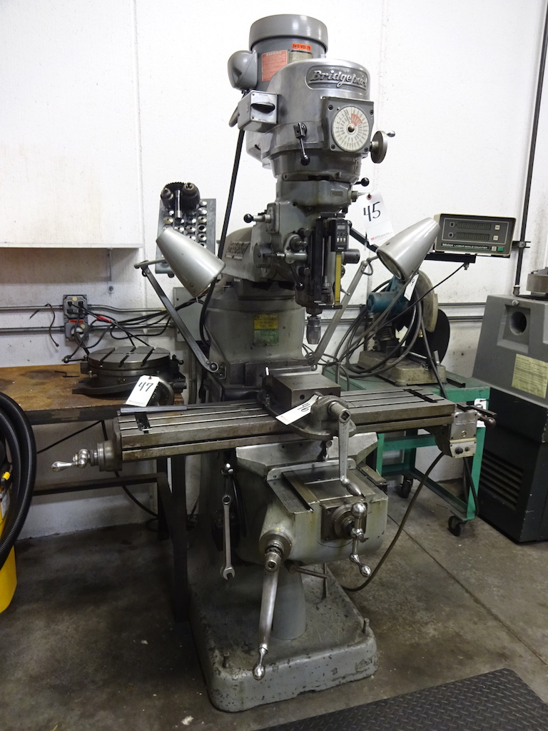 Lot 45 - Bridgeport 1-1/2 HP Variable Speed V-Ram Vertical Milling Machine, S/N 12/BR156369, 9 in. x 42 in.