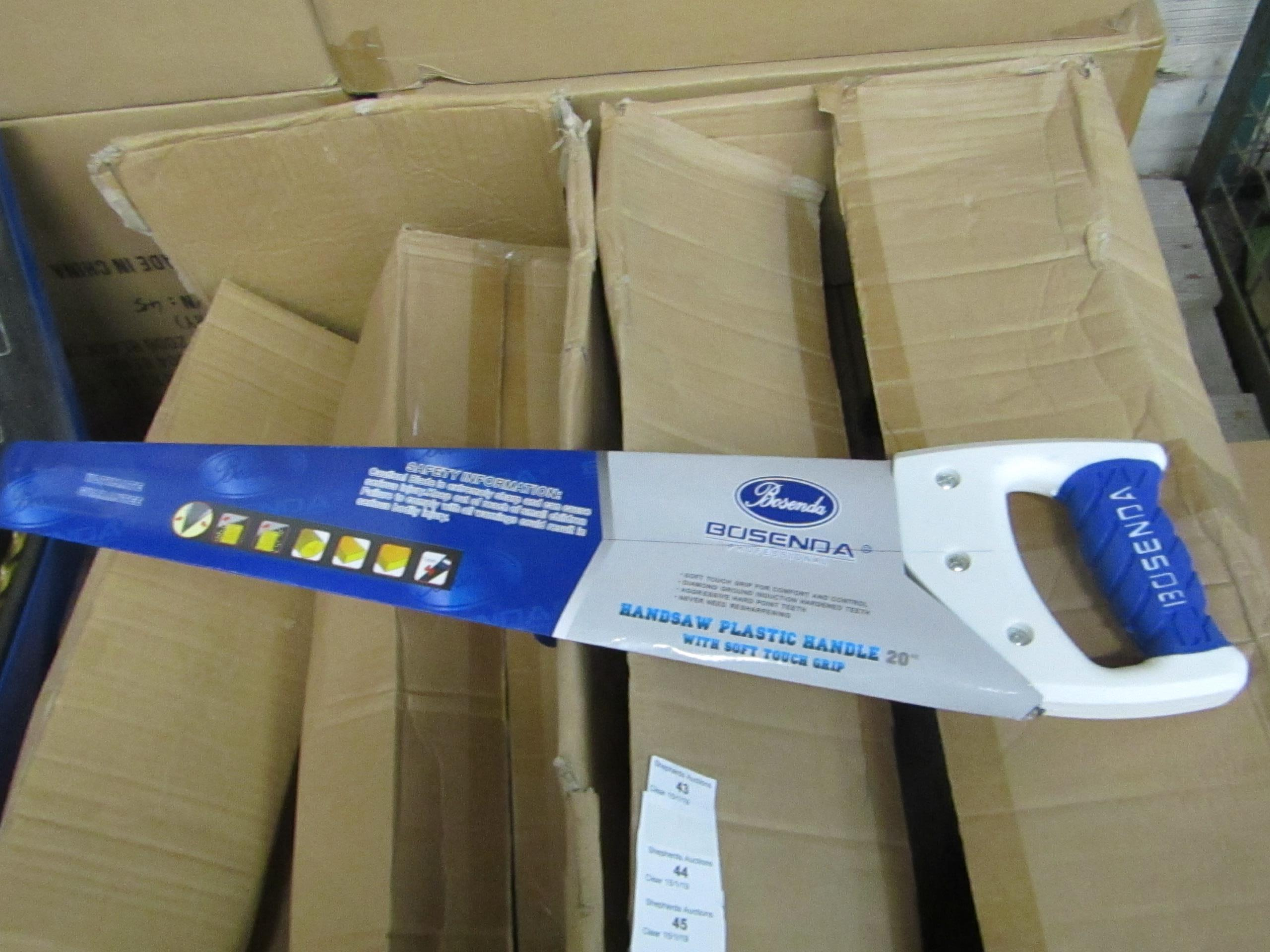 "Lot 46 - Bosenda Professional 20"" Hand saw with Soft touch grip handle, new."