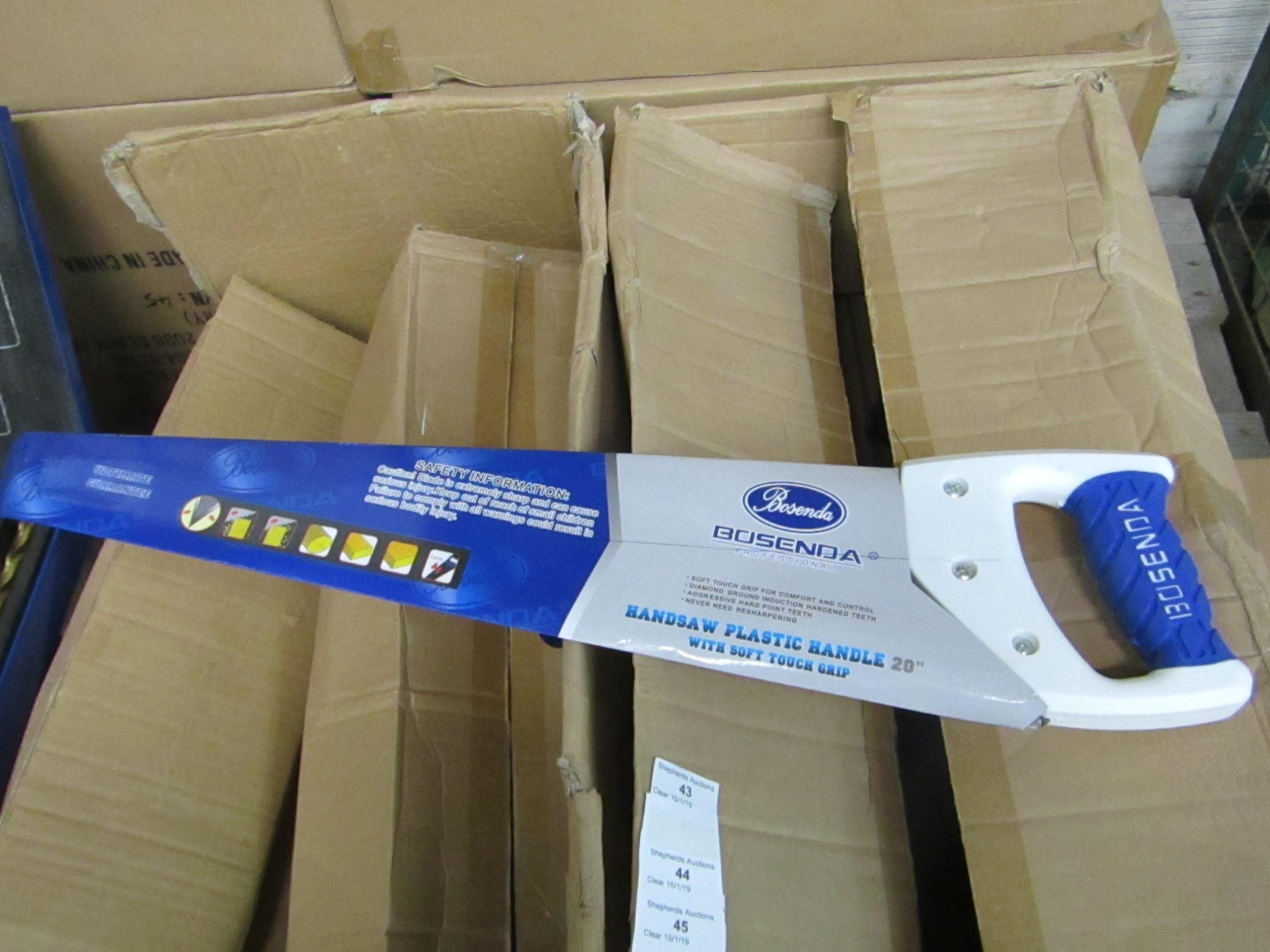 "Lot 50 - Bosenda Professional 20"" Hand saw with Soft touch grip handle, new."
