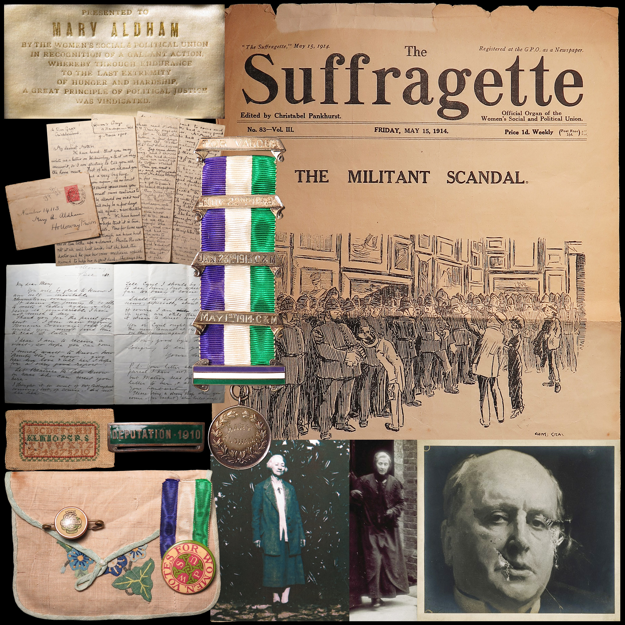 Lot 693 - Suffragette Medal with original named fitted case awarded to Mary Aldham. The medal engraved to Mary