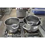 3 assorted stainless steel cook pots