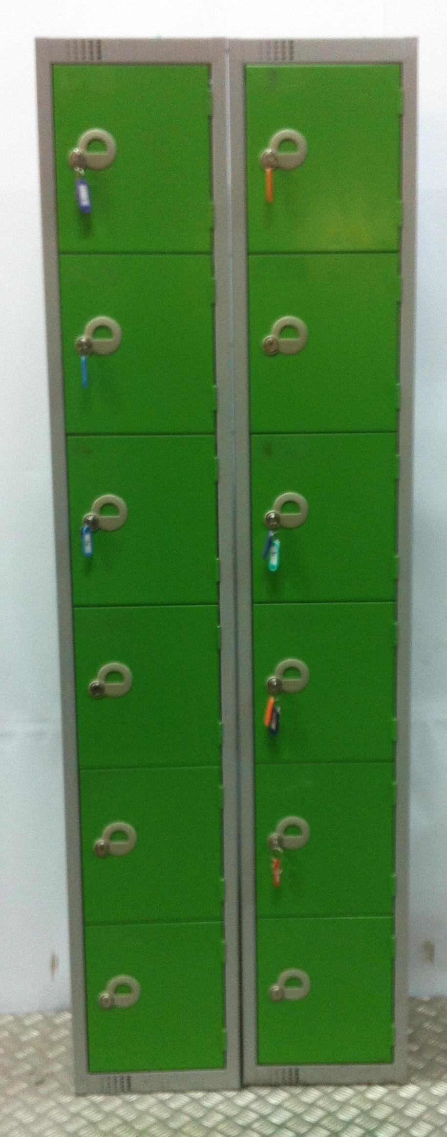 Lot 46 - 2 x Single Locker Stacks with 6 Lockers
