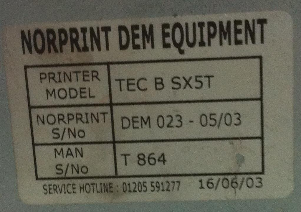 Lot 27 - Toshiba TEC B SX5T Barcode printer with New Ribbon and Labels
