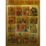 A large Russian icon of the Descent into Hell, the Resurrection and the Twelve Feasts, tempera on