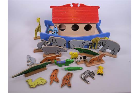 A vintage wooden Noah's ark by Kiddicraft, with various