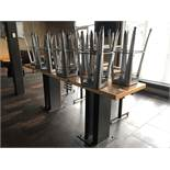 """10'L x 28""""W x 42""""H Heavy Duty Double Pedestal Steel Base Bar Table (Bases Bolted to Floor - Buyer is"""