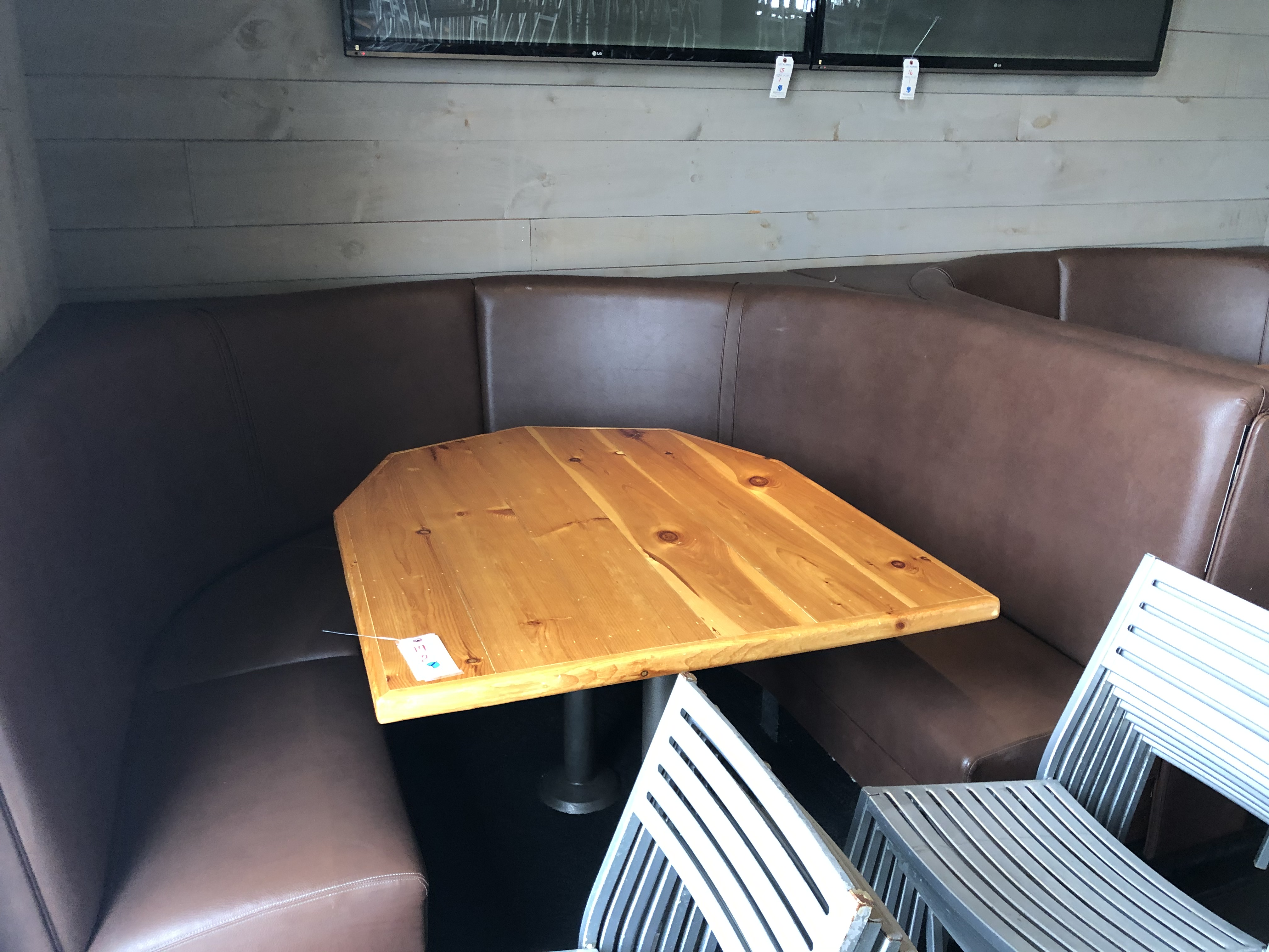 """(2) Fully Upholstered U-Shaped 7' x 6' Booths w/Double Pedestal Wood Top 40"""" x 51"""" Tables"""