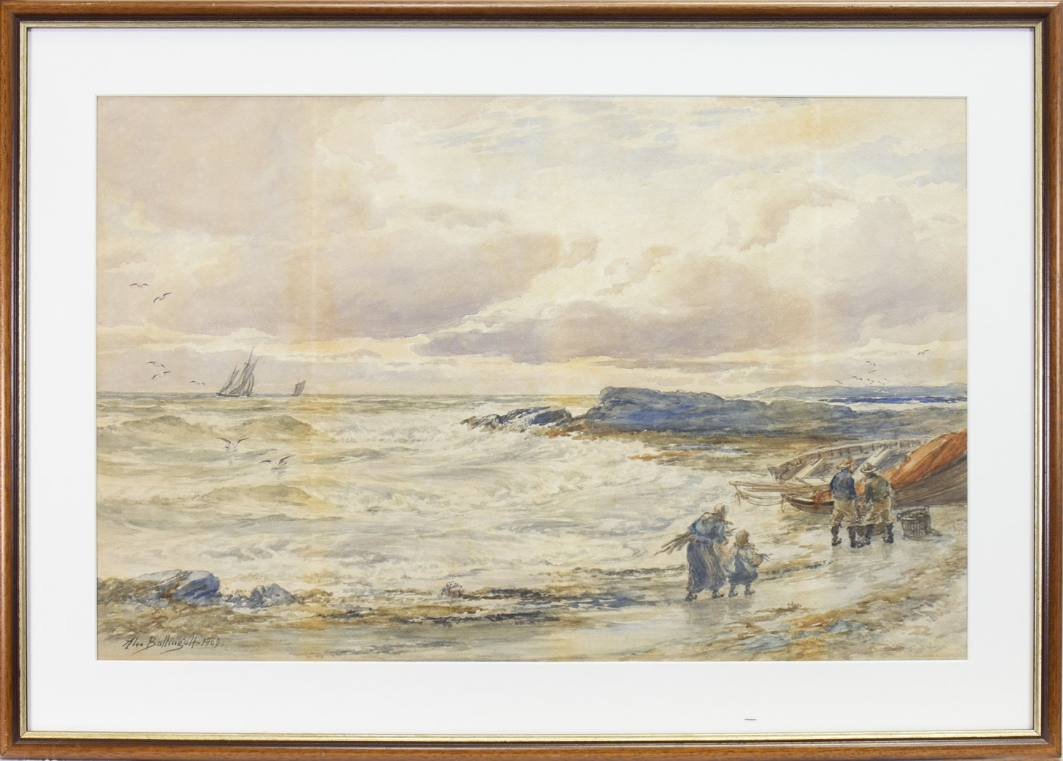 Lot 407 - COASTAL VIEW WITH FIGURES AND BEACHED BOAT TO THE FORE, A WATERCOLOUR BY ALEXANDER BALLINGALL