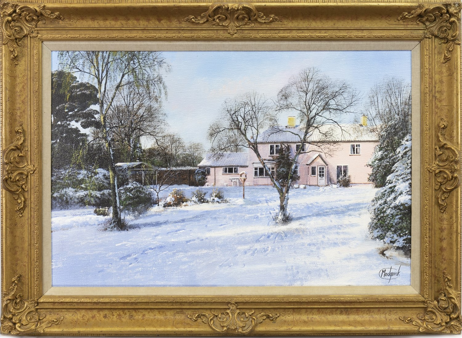 Lot 504 - WINTER LANDSCAPE, AN OIL BY CLIVE MADGWICK