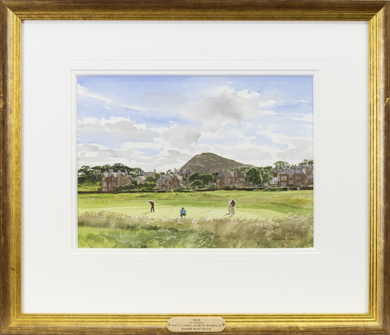 Lot 515 - 'SEA' (2ND GREEN), WEST LINKS, NORTH BERWICK, A WATERCOLOUR BY KENNETH REED