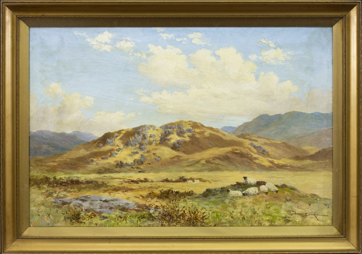 Lot 492 - HILLY LANDSCAPE WITH GROUP OF SHEEP TO THE FORE, AN OIL BY REV WILLIAM DICKIE